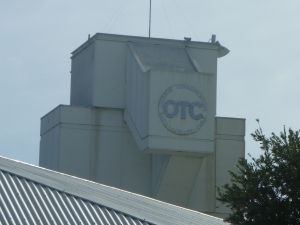 Close view of OTC logo on tower - opposite side to antenna pad